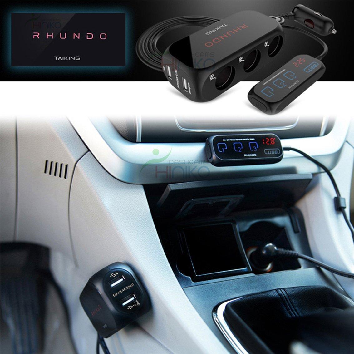Rhundo Rs 20s 3 Way Car Cigarette Lighter Splitter Adapter Charger Switch